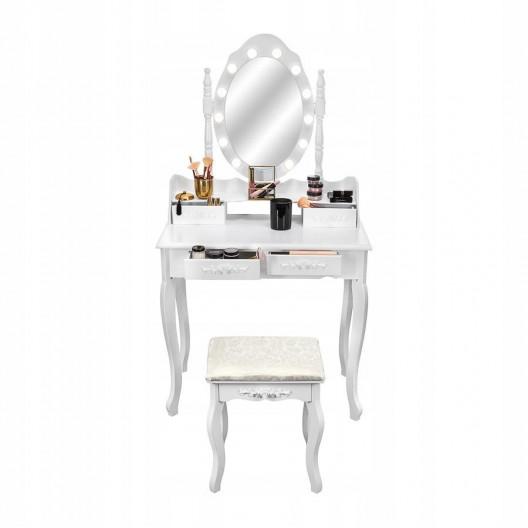 Toaletní stolek s kosmetickým zrcadlem + stolička Marie Thérèse LED