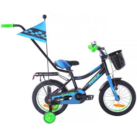Dětské kolo 14 Fuzlu Thor černo-modro-zelený lesklý