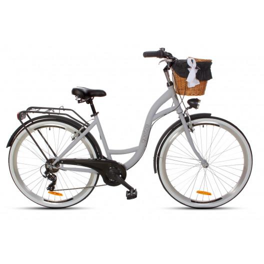 Dámský městský kolo Goetze 28 mood 7b šedo-černý matný+ košík