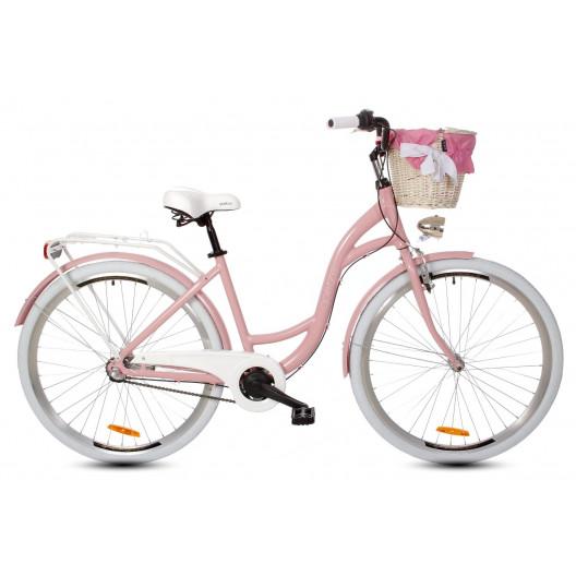 Dámský městský kolo Goetze Style 28 3B Alu pudrově růžová + košík