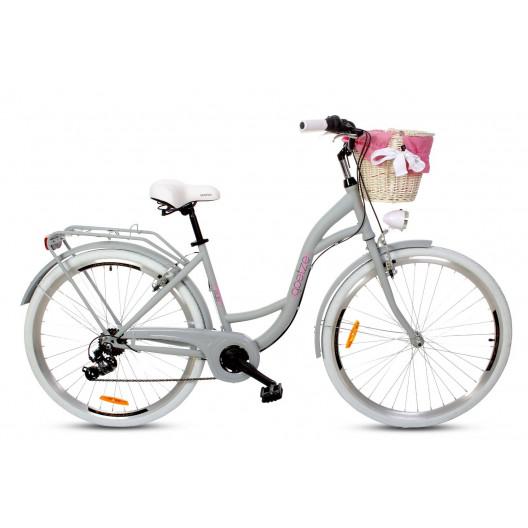 Dámský městský kolo Goetze 28 mood 7b šedobílý růžový matný+ košík