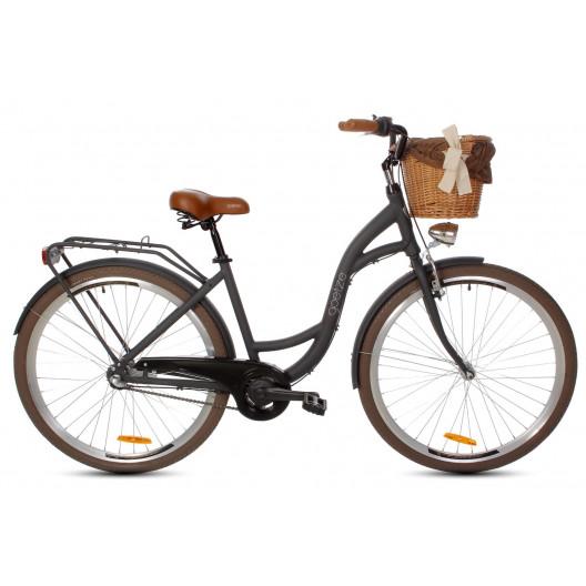 Dámský městský kolo Goetze Style 28 3B Alu černo-hnědý matný + košík grátis