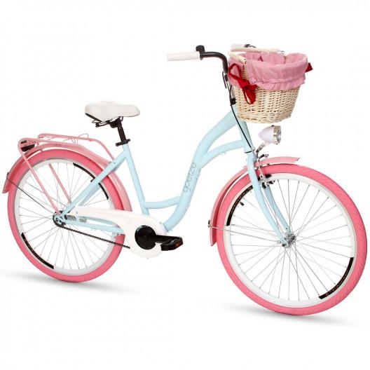 """Retro Kolo GOETZE COLOURS 26""""/28"""" 1 Převodový Modrý-růžové kola + košík"""