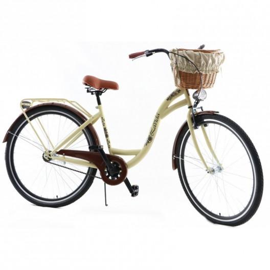 """Dámsky Mestský Retro Bicykel Classic 28"""" Jednoprevodový Cappucino + košík grátis"""
