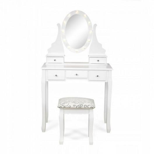 Toaletní dřevěný stolek Glamour s LED osvětlením SH-01W