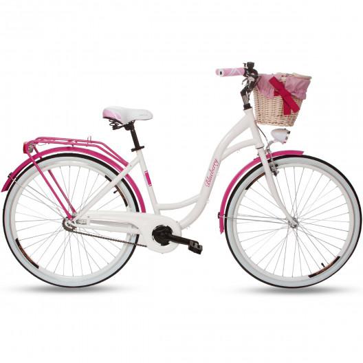 """Retro Kolo GOETZE BLUEBERRY 28"""" 1 Převodový Růžový + košík"""
