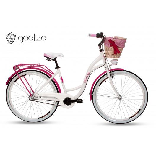 """Retro Kolo GOETZE BLUEBERRY 28"""" 3  převodový Růžový + košík"""