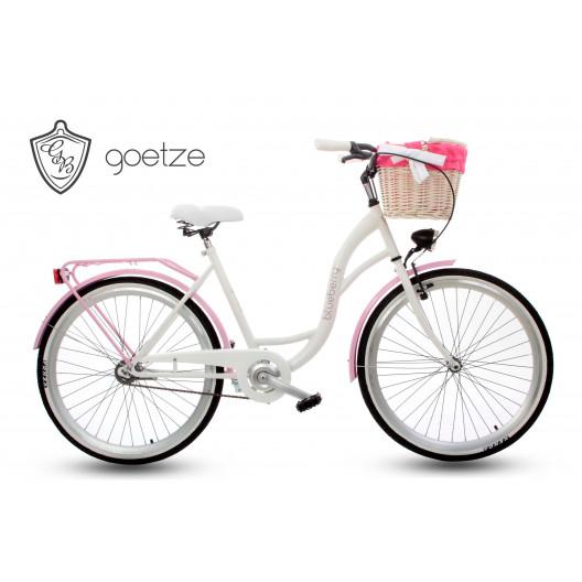 """Retro Kolo GOETZE BLUEBERRY 26"""" 1 Převodový bílo / růžový + Košík"""
