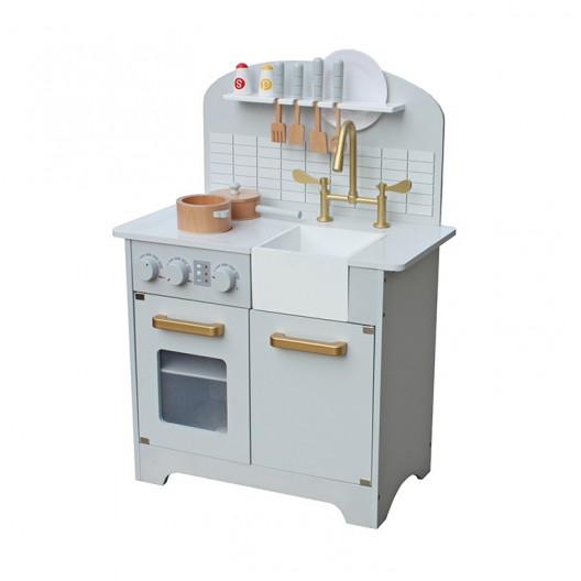 Wooden Toys Dětská Dřevěná Kuchyňka DELUXE Bílo zlatá