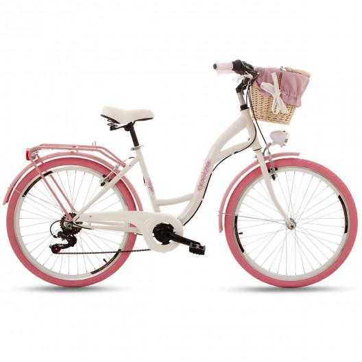 """Retro Městský Kolo Goetze MOOD 26"""" 7 Převodový Růžové kola+košík"""