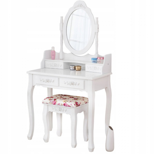 Toaletní Kosmetický stolek Monika bílý + LED zrcadlo