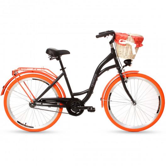 """Městský Retro Kolo Goetze 1 Převodový 26""""/28"""" Černý Oranžove kola+ košík grátis"""