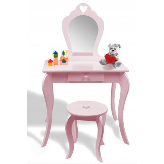 Dětský toaletní stolek se zrcadlem a taburetem ♥ SRDCE ♥