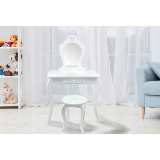 Dětský toaletní stolek se zrcadlem a taburetem ♥ SRDCE ♥ Máta